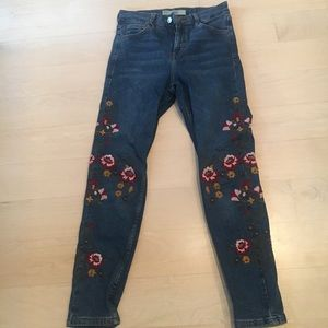 Topshop Floral Embroidered Jeans